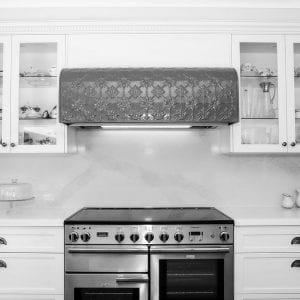 Pressed Tin Panels Originall design fabricated rangehood olde pewter powdercoat