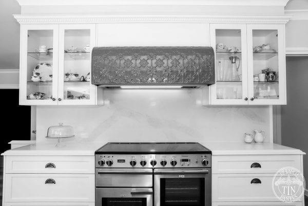 Pressed Tin Panels Originall design fabricated rangehood olde pewter powdercoat