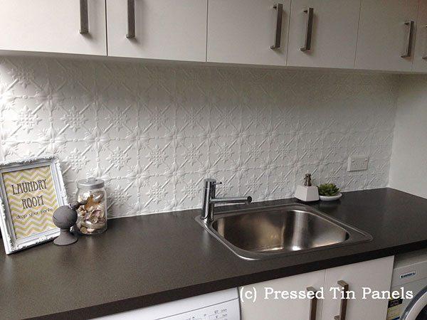 Pressed Tin Panels Original pattern used as a laundry splashback