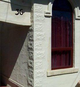 Pressed Tin Panels 'Sandstone Corner Key Stones' installed