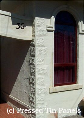 Pressed Tin Panels 'Sandstone Corner Key Stones' installed