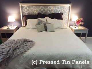 Pressed Tin Panels 'Melbourne' pattern used as a bedhead