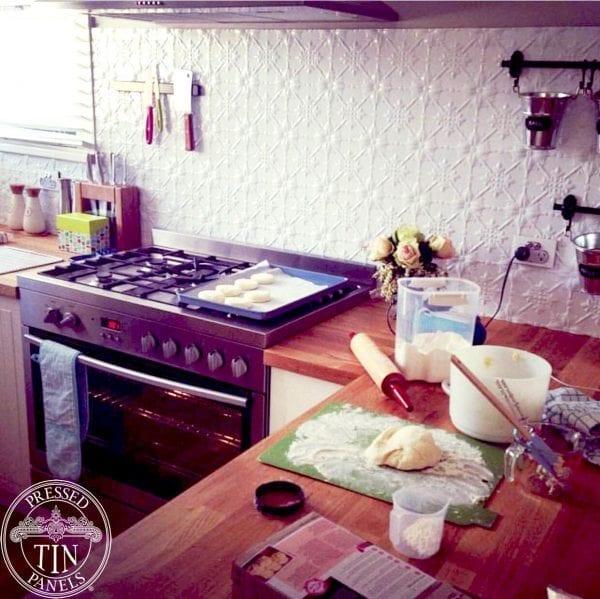 Pressed Tin Panels 'Original' pattern in Bright White powder coat, installed as a kitchen splashback.
