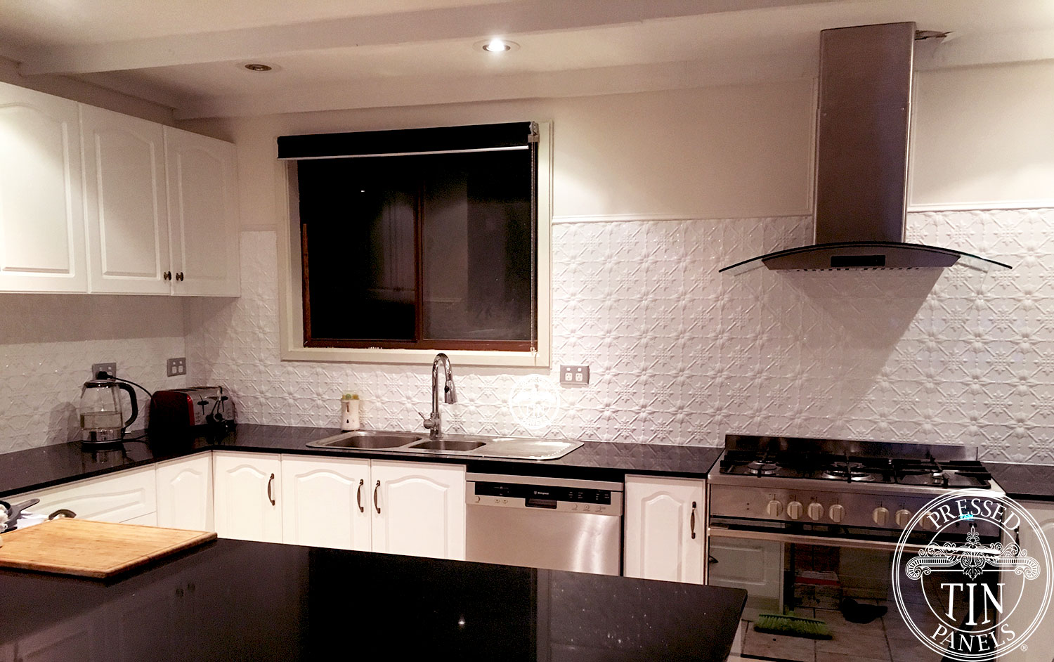Pressed Tin Panels 'Original' pattern powder coated in Classic White