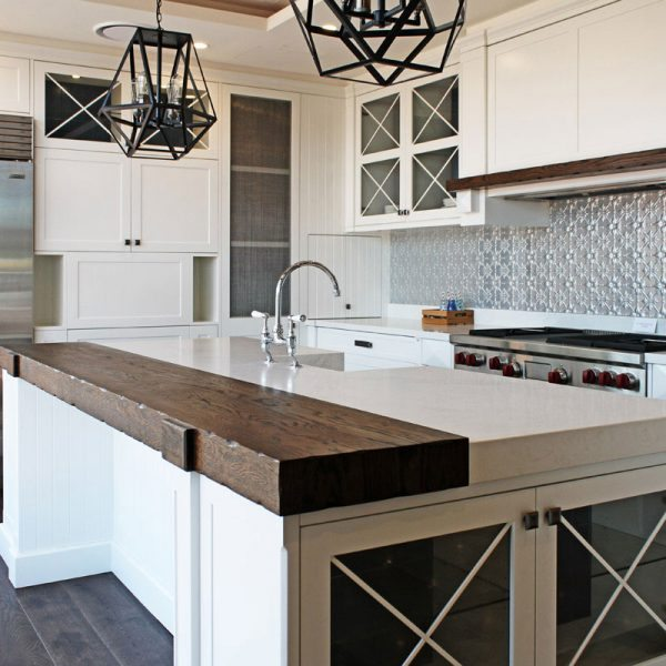 Pressed Tin Panels 'Original' pattern in it's natural state, installed as a splashback in Impala Kitchens & Bathrooms amazing Drummoyne store's display