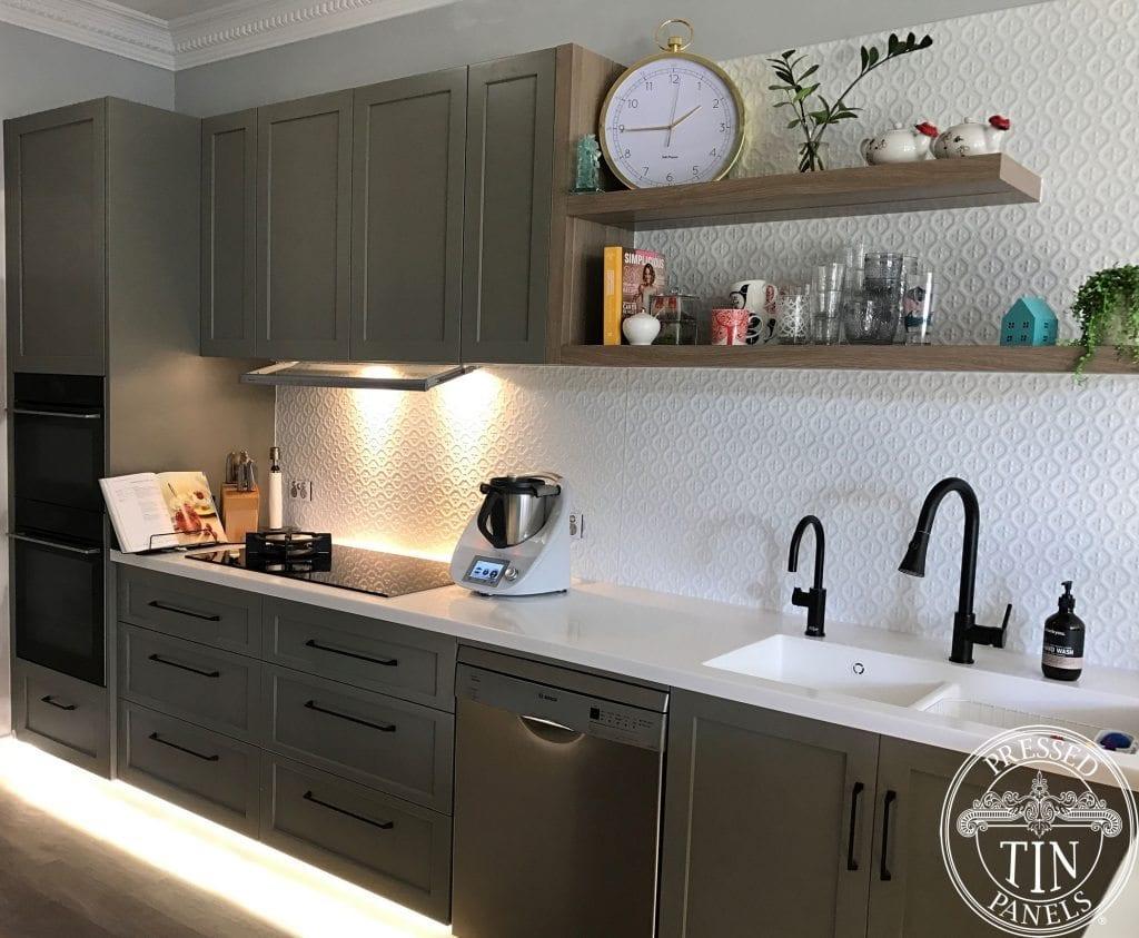 Pressed Tin Panels 'Savannah' pattern powder coated in White Satin and installed as a kitchen splashback