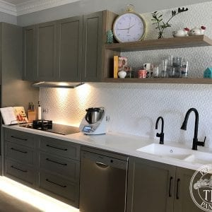 Pressed Tin Panels 'Savannah' pattern powder coated in White Satin and installed as a kitchen splashback