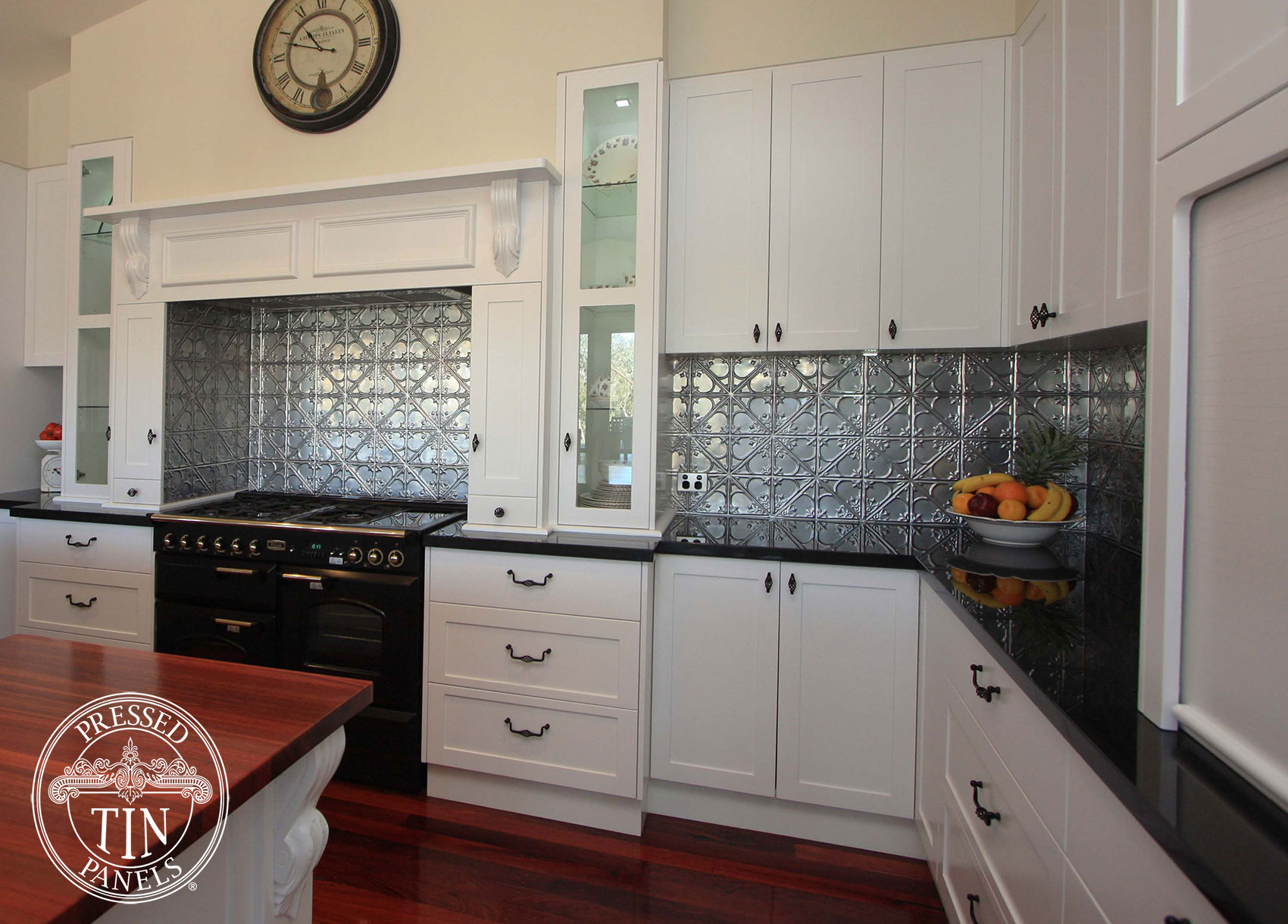 snowflakes silver kitchen splashback flair cabinets. Black Bedroom Furniture Sets. Home Design Ideas