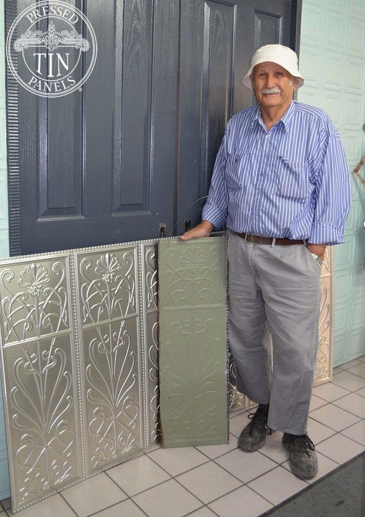 Pressed Tin Panels Wildflower panel with Bill & his original sample piece
