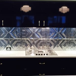 Pressed Tin Panels Bondi pattern installed as a kitchen splashback