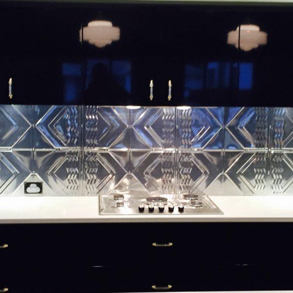 Pressed Tin Panels Bondi pattern installed as a kitchen splashback