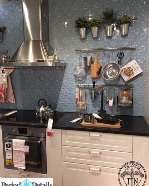 IKEA kitchen display features Pressed Tin Panels 'Original' pattern