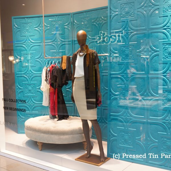 Pressed Tin Panels Alexandria pattern used to create a folding wall feature