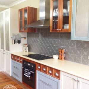 Pressed Tin Panels Clover pattern installed as a kitchen splashback