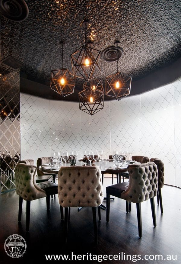 Pressed Tin Panels Spades design features on the ceiiing of Match Restaurant Singapore. Supplied by Heritage Ceilings.