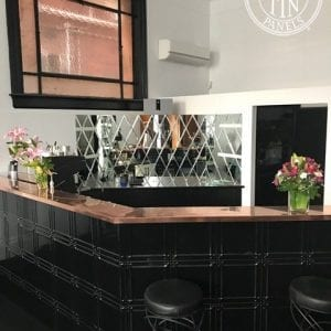 Pressed Tin Panels Maddington pattern in black gloss installed on bar at Circa 1929