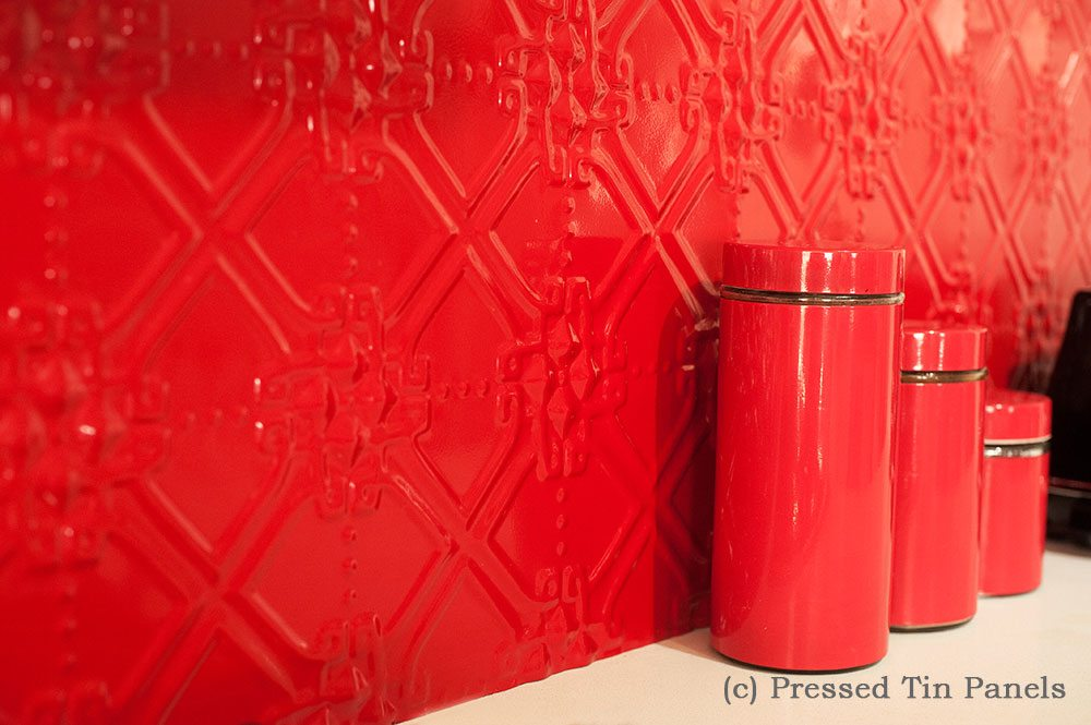 Pressed Tin Panels Maze Pattern powder coated in Dulux Flame Red