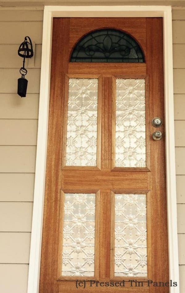 Pressed Tin Panels Original pattern installed in front door inserts