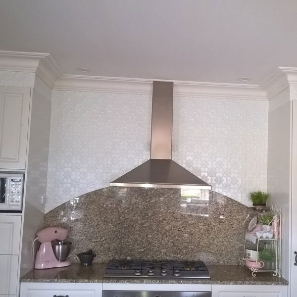White Kitchen Feature Wall original-kitchen bench & feature wall- white satin
