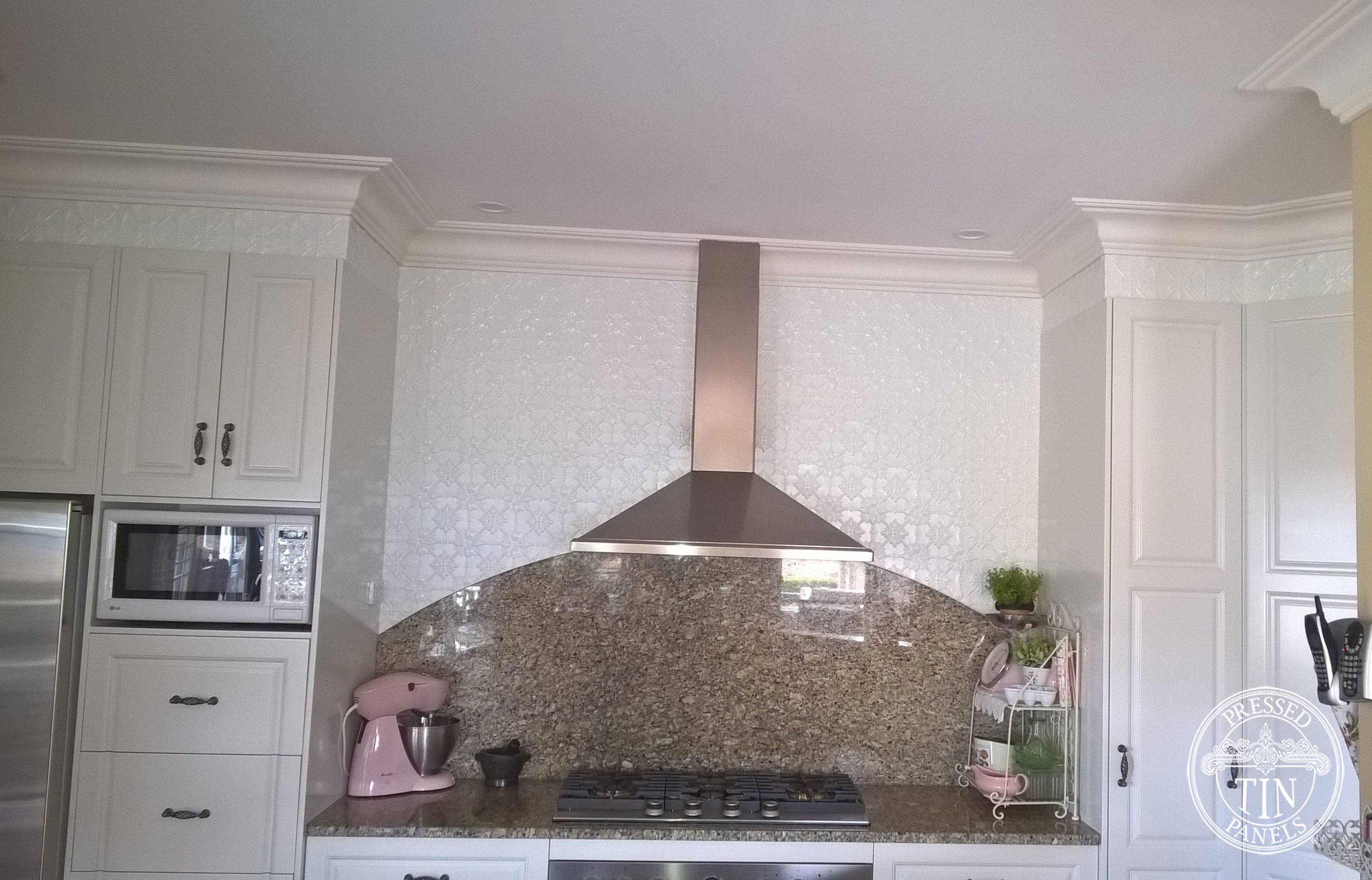 Pressed Tin Panels Original pattern in Interpon White Satin Powder Coat-Kitchen Feature Wall and Bench