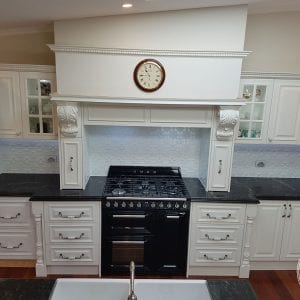 Pressed Tin Panels Original pattern White Satin powder coat kitchen splashback