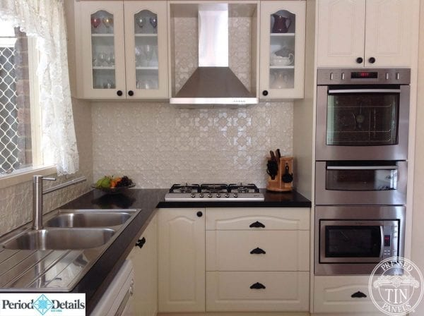 Pressed Tin Panels Original splashback in white powder coat
