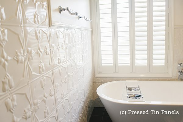 Pressed Tin Panels Tulip pattern on a Bathroom Wall