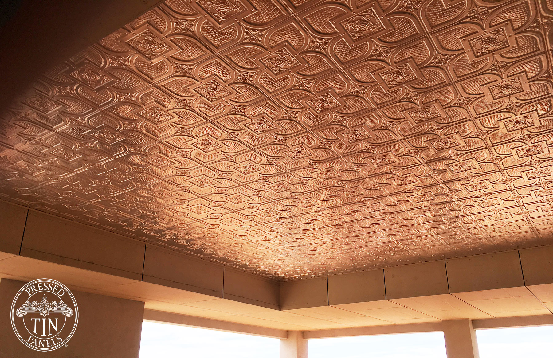 Pressed Tin Panels Alexandria pattern installed on ceiling of outdoor area