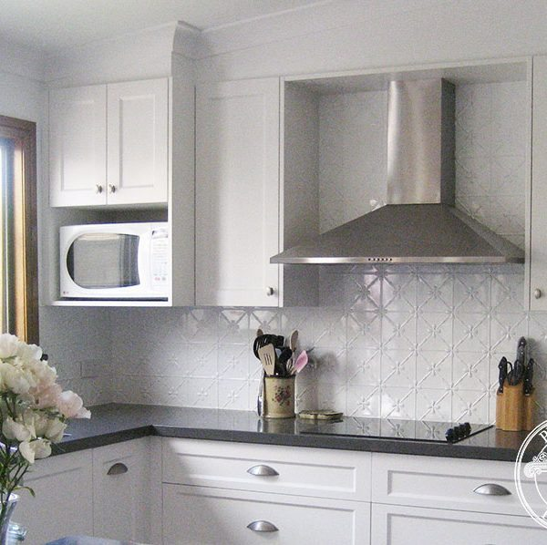 Pressed Tin Panels Clover pattern powder coated in Classic White