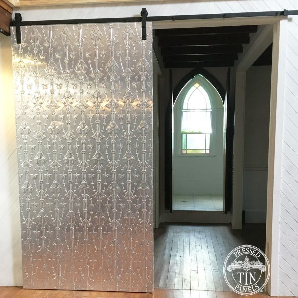 Pressed Tin Panels Lily Vertical installed on a sliding barn door