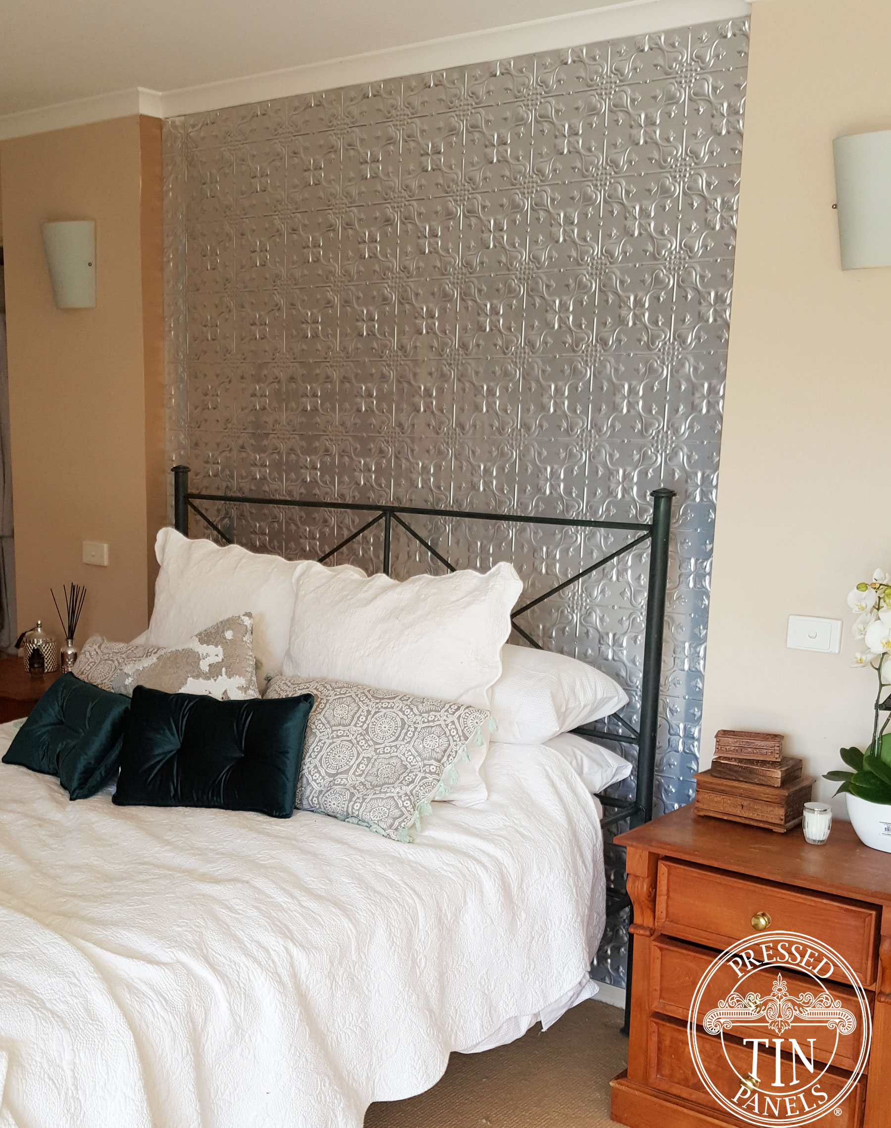 Pressed Tin Panels Lizards pattern installed as a bedroom feature wall
