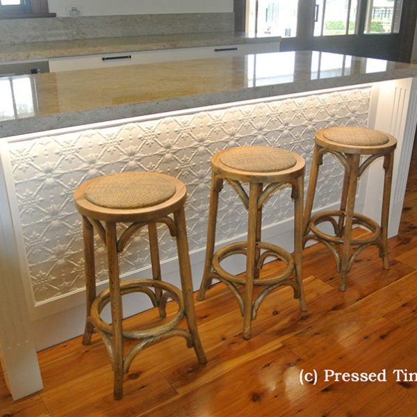 Pressed Tin Panels Original pattern powdercoated white installed under an island bench