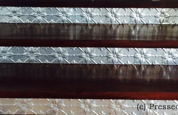 Pressed Tin Panels Original installed as kickboards on steps