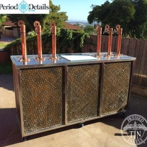Pressed Tin Panels Savannah pattern with rust effect installed on a mobile bar
