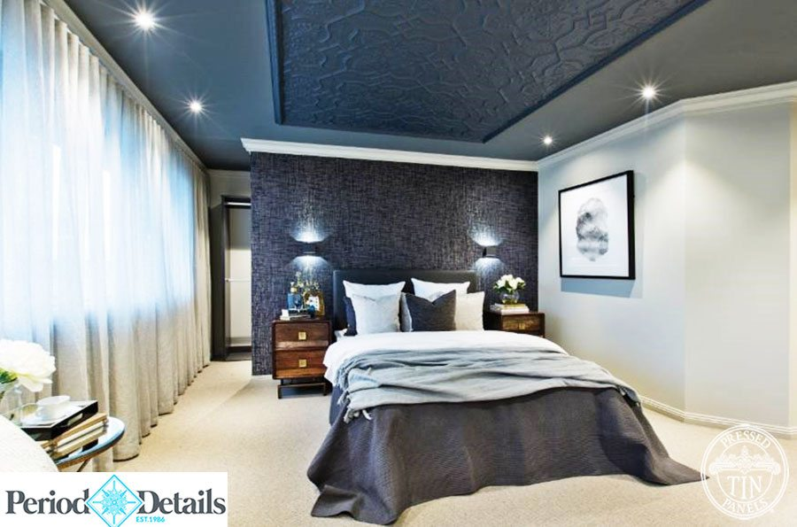 Pressed Tin Panels Shield Ceiling Feature