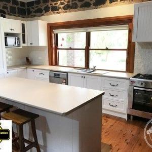 Pressed Tin Panels Wall Panel Pattern in Shoji White installed by Orange Kitchen Concepts