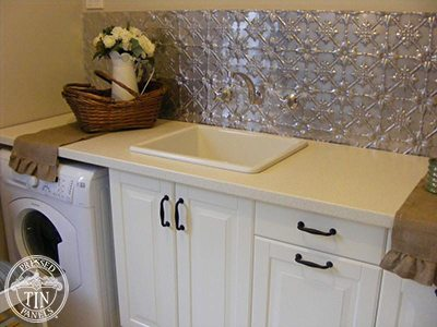 Image example of Pressed Tin Panels Original pattern in their natural state and installed as a laundry splashback