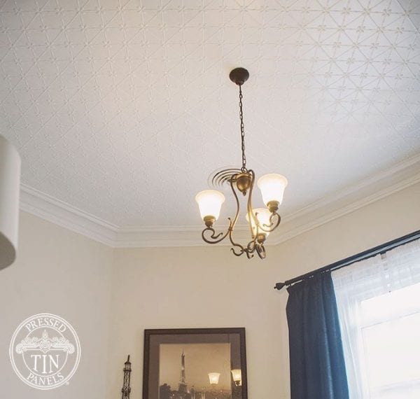 Installed ceiling image example of Pressed Tin Panels Clover pattern