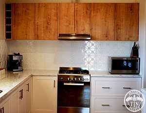 Image example of the Clover pattern installed as a splashback for Flinders Bush Retreats
