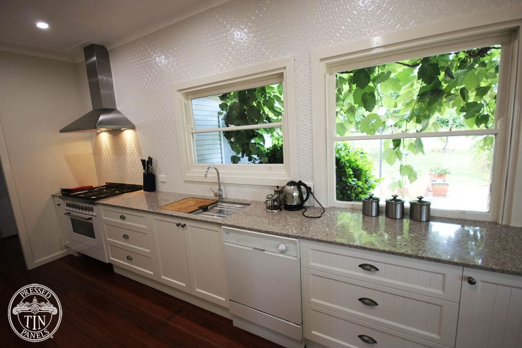 Pressed Tin Panels Kitchen Splashback in Savannah pattern