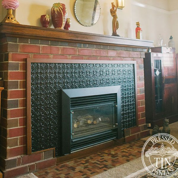 Installed image example of Pressed Tin Panels Lachlan Hearts design installed on mantle piece