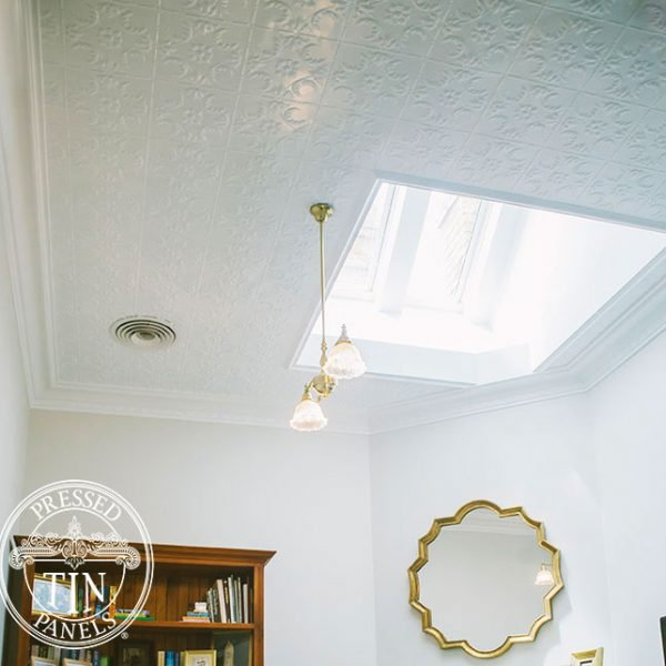 Installed ceiling image example of Pressed Tin Panels Melbourne pattern