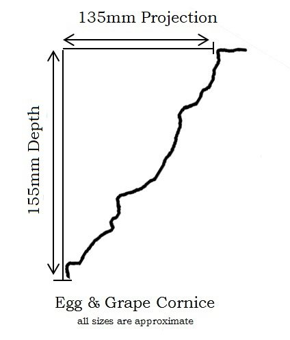 Egg & Grape Cornice projection & depth measurements