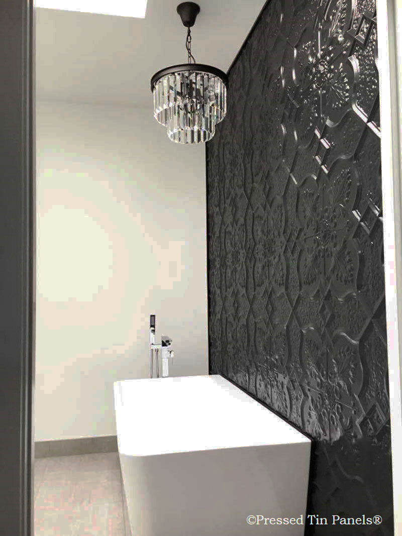 PressedTinPanels_Shield600x1800_BathroomWall_Black_DiRosa