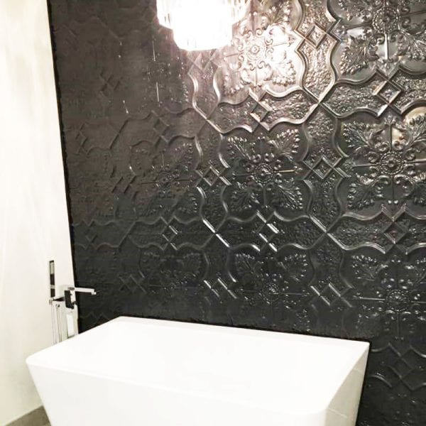 PressedTinPanels_Shield600x1800_BathroomWall_Black_DiRosa2