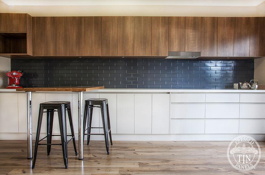 Pressed Tin Panels Brick Kitchen Splashback IronStone Powder Coat