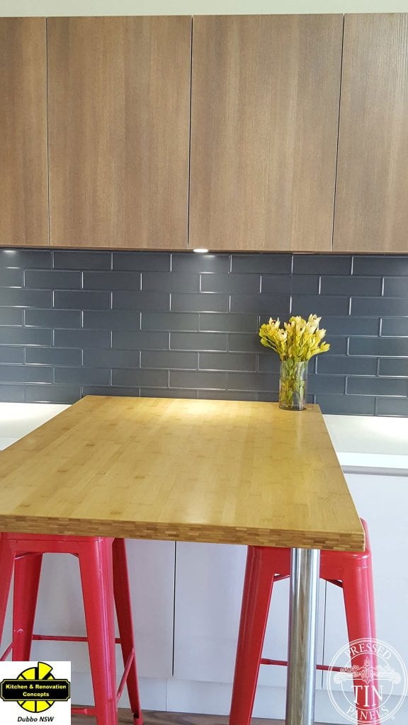 PressedTinPanels_Brick900x1800_Ironstone_DubboKitchenConcepts_Close