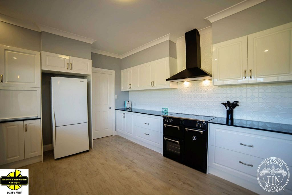 Pressed Tin Panels Mudgee Kitchen Splashback White Satin- Dubbo Kitchen Concepts