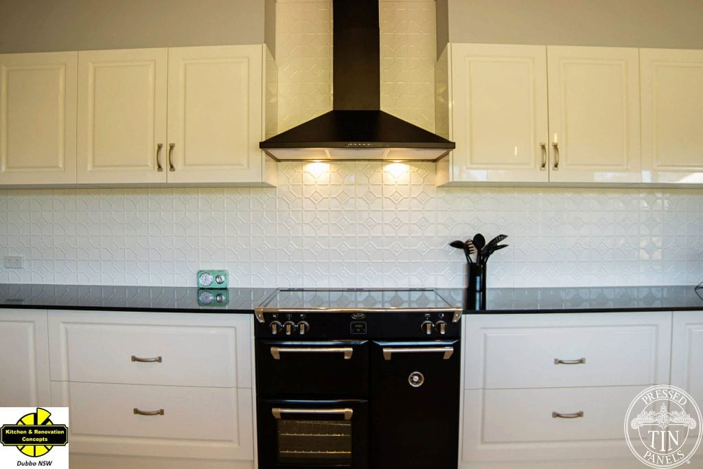 Pressed Tin Panels Mudgee Kitchen Splashback White Satin- Dubbo Kitchen Concepts Stove Top