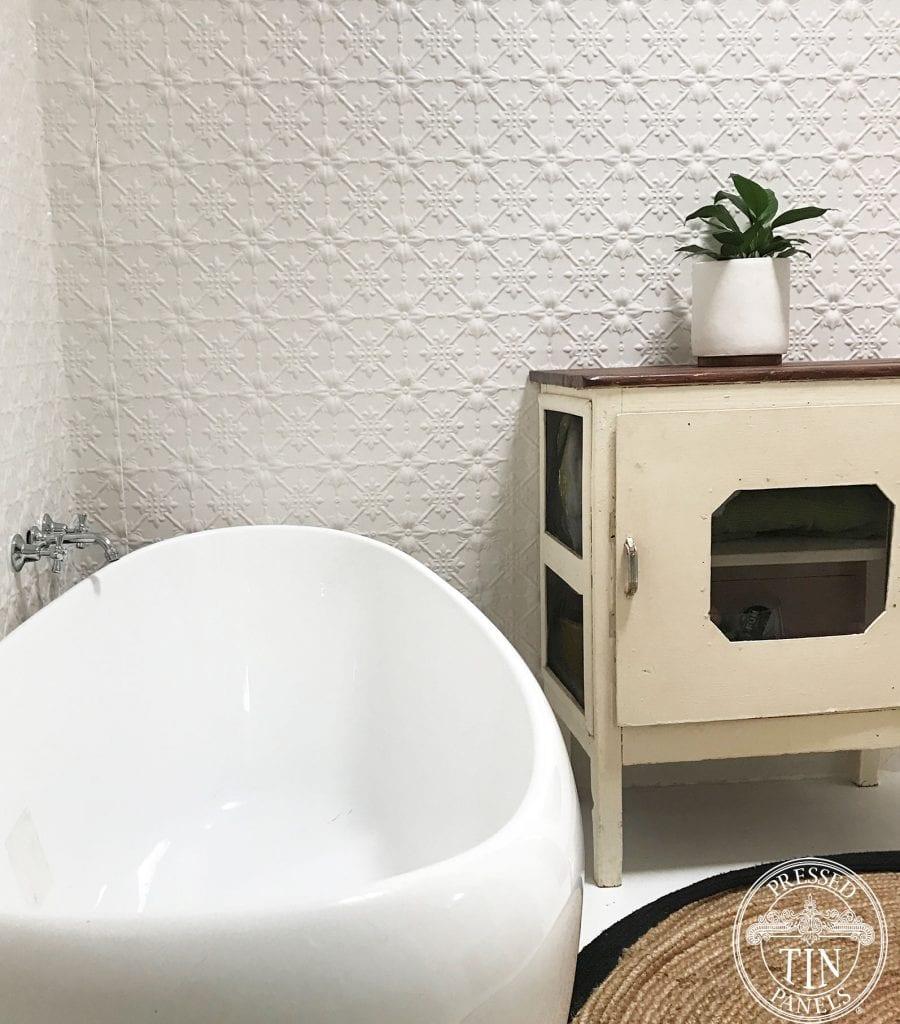 Pressed Tin Panels Original bathroom Feature Walls Dulux Shoji White Powder Coat